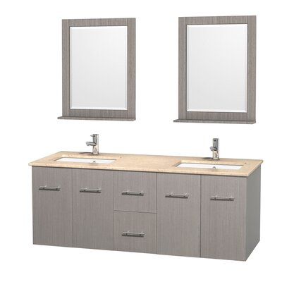 Centra 60 Double Gray Oak Bathroom Vanity Set with Mirror Top Finish: Ivory Marble