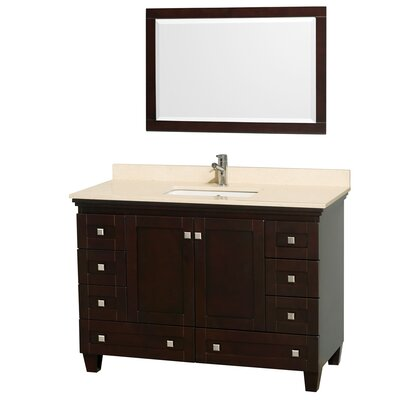 Acclaim 48 Single Espresso Bathroom Vanity Set with Mirror Top Finish: Ivory Marble