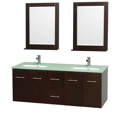 Centra 60 Double Espresso Bathroom Vanity Set with Mirror