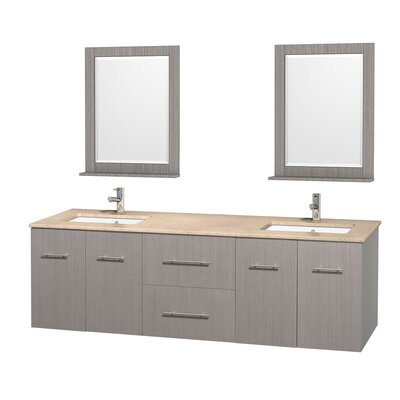 Centra 72 Double Gray Oak Bathroom Vanity Set with Mirror Top Finish: Ivory Marble