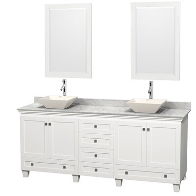 Acclaim 80 Double White Bathroom Vanity Set with Mirror Top Finish: White Carrera Marble, Sink Finish: Bone Porcelain
