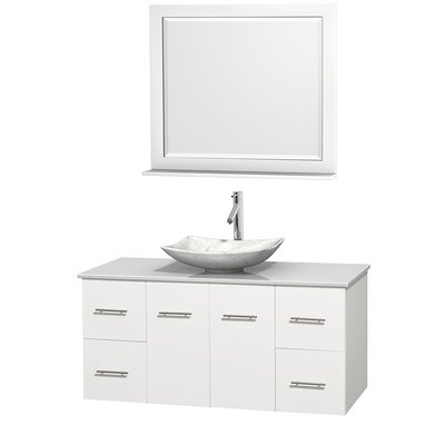 Centra 48 Single White Bathroom Vanity Set with Mirror Sink Finish: Arista White Carrera Marble, Top Finish: White Man-Made Stone