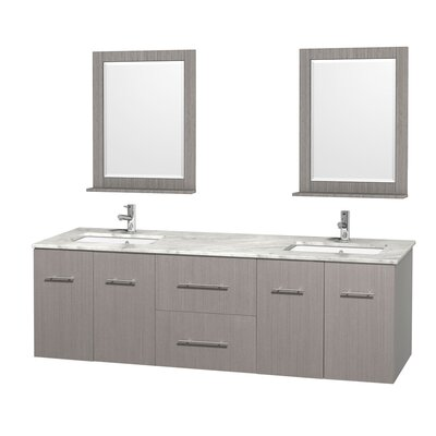 Centra 72 Double Gray Oak Bathroom Vanity Set with Mirror Top Finish: White Carrera Marble