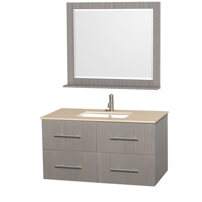 Centra 42 Single Gray Oak Bathroom Vanity Set with Mirror Top Finish: Ivory Marble