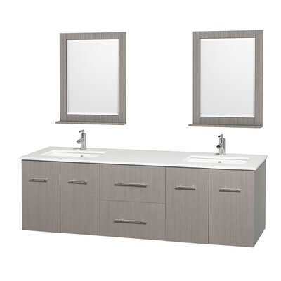 Centra 72 Double Gray Oak Bathroom Vanity Set with Mirror