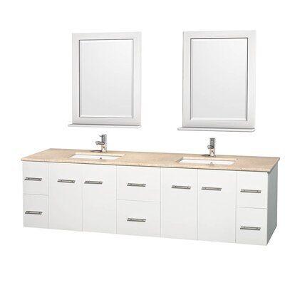 Centra 80 Double White Bathroom Vanity Set with Mirror Top Finish: Ivory Marble
