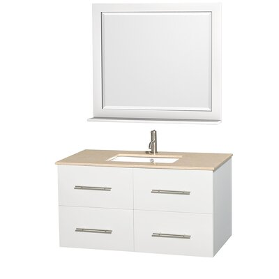 Centra 42 Single White Bathroom Vanity Set with Mirror Top Finish: Ivory Marble