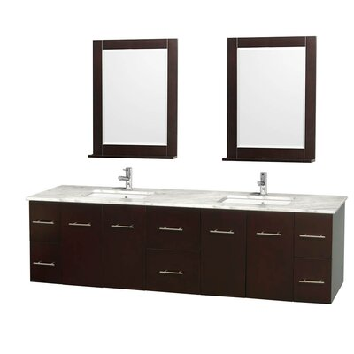 Centra 80 Double Espresso Bathroom Vanity Set with Mirror Top Finish: White Carrera Marble
