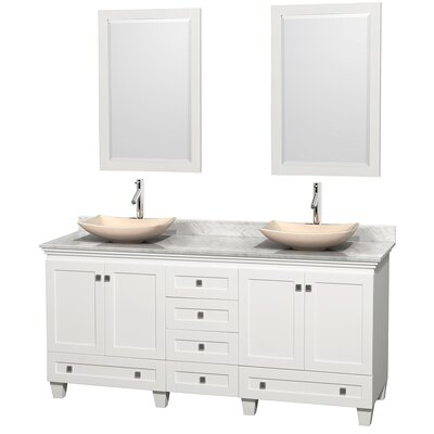 Acclaim 72 Double White Bathroom Vanity Set with Mirror Top Finish: White Carrera Marble, Sink Finish: Arista Ivory Marble