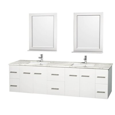 Centra 80 Double White Bathroom Vanity Set with Mirror Top Finish: White Carrera Marble