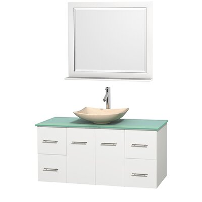 Centra 48 Single Espresso Bathroom Vanity Set with Mirror Top Finish: Green Glass, Sink Finish: Arista White Carrera Marble