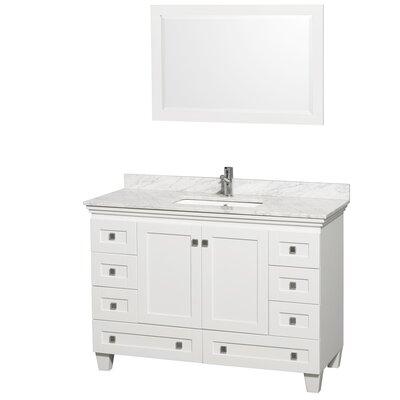 Acclaim 48 Single White Bathroom Vanity Set with Mirror Top Finish: White Carrera Marble