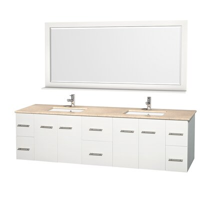 Centra 80 Double Bathroom Vanity Set with Mirror Top Finish: Ivory Marble