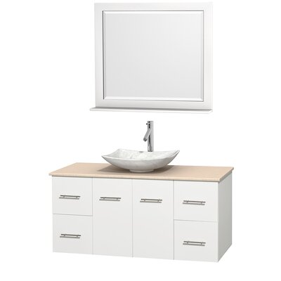 Centra 48 Single White Bathroom Vanity Set with Mirror Top Finish: Ivory Marble, Sink Finish: Arista White Carrera Marble