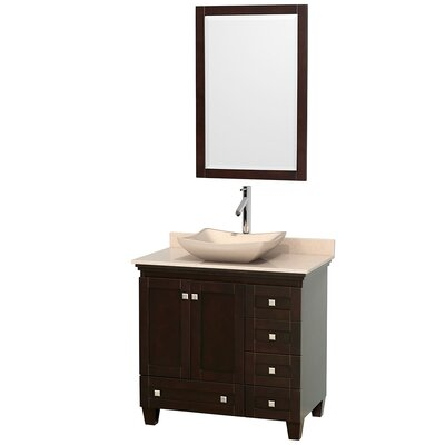 Acclaim 36 Single Espresso Bathroom Vanity Set with Mirror Top Finish: Ivory Marble, Sink Finish: Arista White Carrera Marble