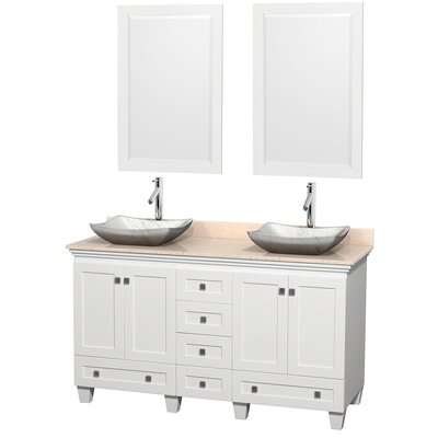 Acclaim 60 Double White Bathroom Vanity Set with Mirror Top Finish: Ivory Marble, Sink Finish: Avalon White Carrera Marble