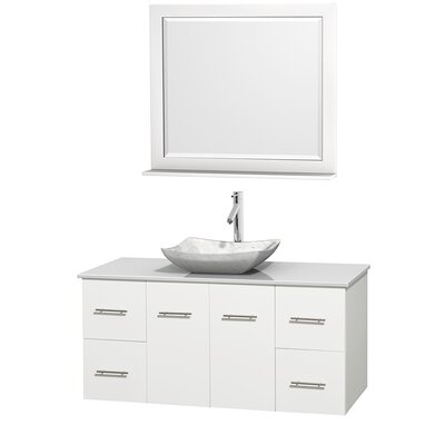 Centra 48 Single White Bathroom Vanity Set with Mirror Top Finish: White Man-Made Stone, Sink Finish: Avalon White Carrera Marble