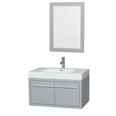 Axa 36 Single Dove Gray Bathroom Vanity Set with Mirror