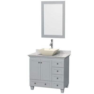 Acclaim 36 Single Oyster Gray Bathroom Vanity Set with Mirror Sink Finish: Bone Porcelain, Top Finish: Ivory Marble