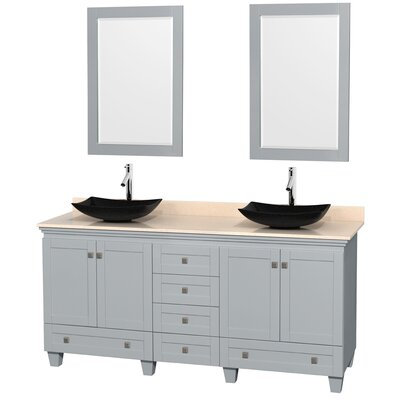 Acclaim 72 Double Oyster Gray Bathroom Vanity Set with Mirror Sink Finish: Arista Black Granite, Top Finish: Ivory Marble