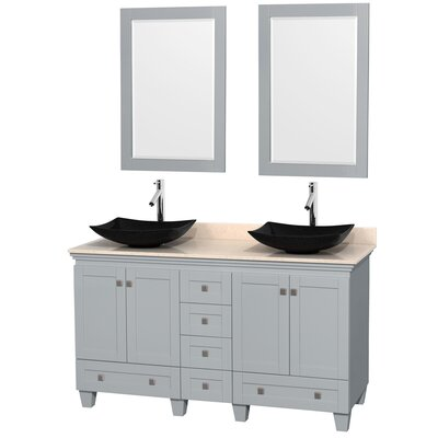 Acclaim 60 Double Oyster Gray Bathroom Vanity Set with Mirror Sink Finish: Arista Black Granite, Top Finish: Ivory Marble