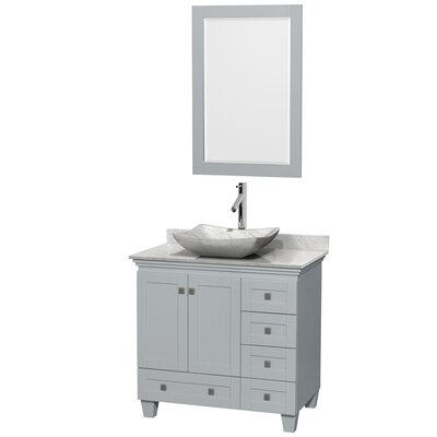 Acclaim 36 Single Oyster Gray Bathroom Vanity Set with Mirror Sink Finish: Avalon White Carrera Marble, Top Finish: White Carrera Marble