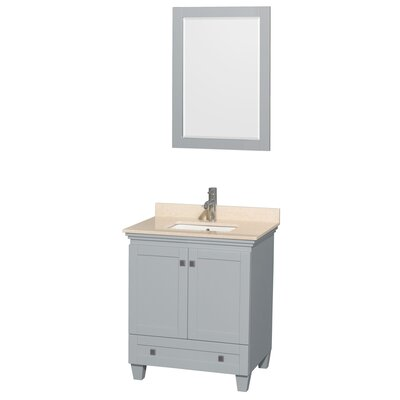 Acclaim 30 Single Bathroom Vanity Set with Mirror Top Finish: Ivory Marble