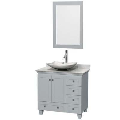 Acclaim 36 Single Oyster Gray Bathroom Vanity Set with Mirror Sink Finish: Arista White Carrera Marble, Top Finish: White Carrera Marble