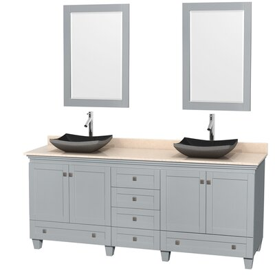 Acclaim 80 Double Oyster Gray Bathroom Vanity Set with Mirror Sink Finish: Avalon Ivory Marble, Top Finish: White Carrera Marble
