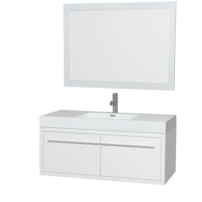 Axa 48 Single Glossy White Bathroom Vanity Set with Mirror