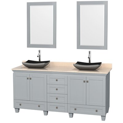 Acclaim 72 Double Oyster Gray Bathroom Vanity Set with Mirror Sink Finish: Avalon White Carrera Marble, Top Finish: Ivory Marble