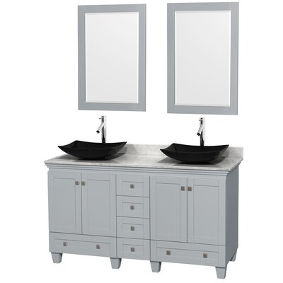 Acclaim 60 Double Oyster Gray Bathroom Vanity Set with Mirror Sink Finish: Arista Black Granite, Top Finish: White Carrera Marble