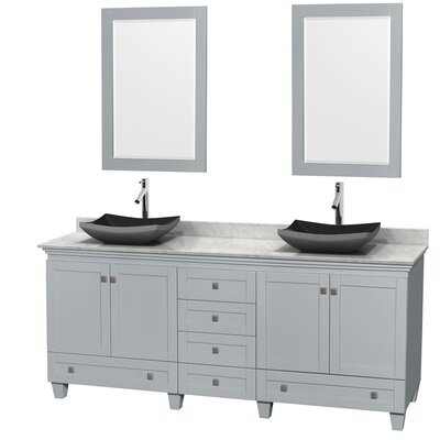 Acclaim 80 Double Oyster Gray Bathroom Vanity Set with Mirror Sink Finish: Altair Black Granite, Top Finish: White Carrera Marble