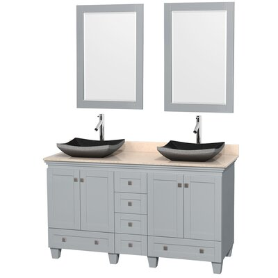 Acclaim 60 Double Oyster Gray Bathroom Vanity Set with Mirror Sink Finish: Bone Porcelain, Top Finish: White Carrera Marble