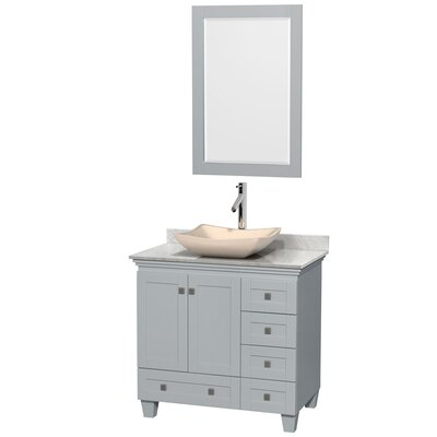 Acclaim 36 Single Oyster Gray Bathroom Vanity Set with Mirror Sink Finish: Avalon Ivory Marble, Top Finish: White Carrera Marble