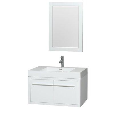 Axa 36 Single Glossy White Bathroom Vanity Set with Mirror