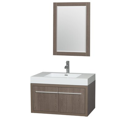 Axa 36 Single Gray Oak Bathroom Vanity Set with Mirror