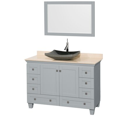 Acclaim 48 Single Oyster Gray Bathroom Vanity Set with Mirror Sink Finish: Avalon White Carrera Marble, Top Finish: Ivory Marble