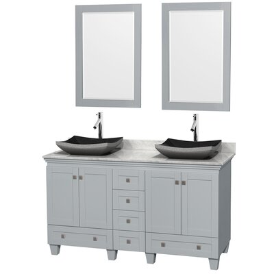 Acclaim 60 Double Oyster Gray Bathroom Vanity Set with Mirror Sink Finish: Altair Black Granite, Top Finish: White Carrera Marble