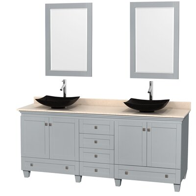 Acclaim 80 Double Oyster Gray Bathroom Vanity Set with Mirror Sink Finish: Arista Black Granite, Top Finish: Ivory Marble