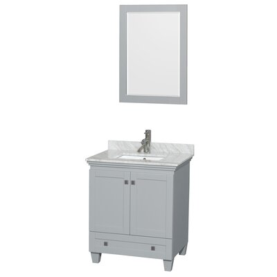 Acclaim 30 Single Bathroom Vanity Set with Mirror Top Finish: White Carrera Marble