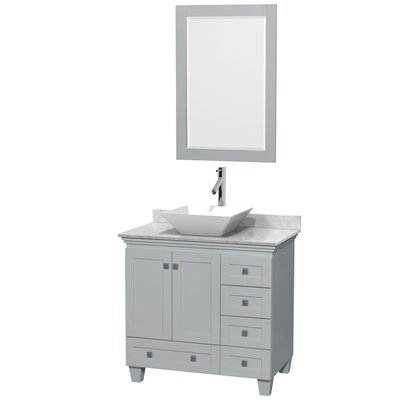 Acclaim 36 Single Oyster Gray Bathroom Vanity Set with Mirror Sink Finish: White Porcelain, Top Finish: White Carrera Marble
