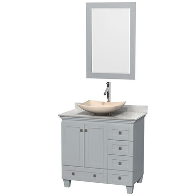 Acclaim 36 Single Oyster Gray Bathroom Vanity Set with Mirror Sink Finish: Arista Black Granite, Top Finish: Ivory Marble