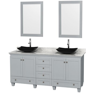 Acclaim 72 Double Oyster Gray Bathroom Vanity Set with Mirror Sink Finish: Arista Black Granite, Top Finish: White Carrera Marble