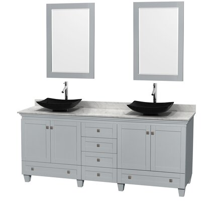 Acclaim 80 Double Oyster Gray Bathroom Vanity Set with Mirror Sink Finish: Arista Black Granite, Top Finish: White Carrera Marble