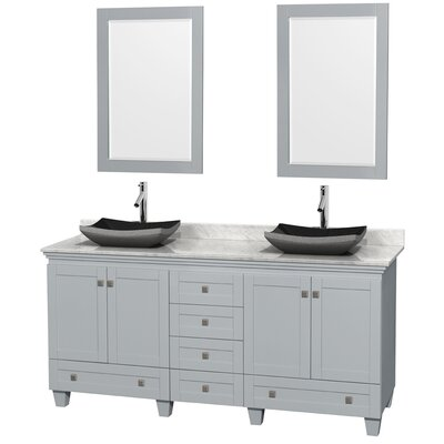 Acclaim 72 Double Oyster Gray Bathroom Vanity Set with Mirror Sink Finish: Altair Black Granite, Top Finish: White Carrera Marble
