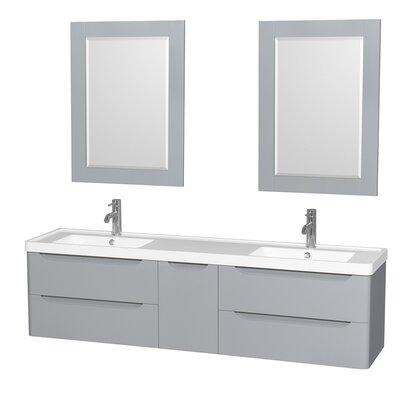 Murano 72 Double Gray Bathroom Vanity Set with Mirror