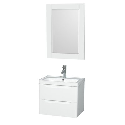 Murano 23.5 Single Glossy White Bathroom Vanity Set with Mirror