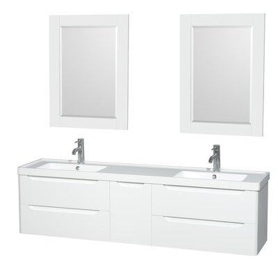 Murano 72 Double Glossy White Bathroom Vanity Set with Mirror