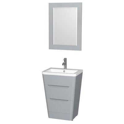 Caprice 24 Single Gray Bathroom Vanity Set with Mirror